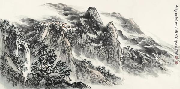 李项鸿,《白云生处有人家》,138cm×68cm ,2018年作.webp.jpg