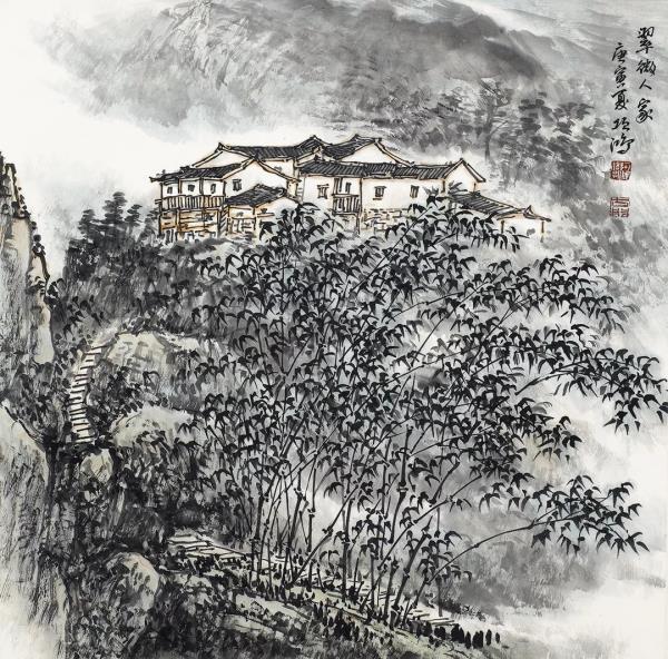 李项鸿,《翠微人家》,138cm×68cm ,2010年.webp.jpg