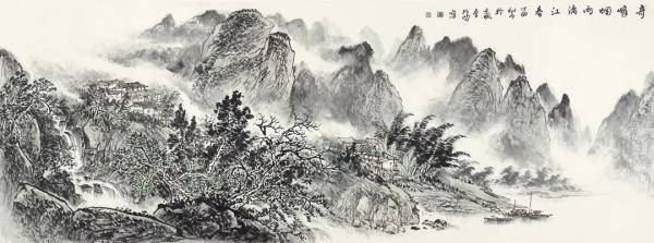 李项鸿,《奇峰烟雨漓江春》,245cm×110cm,2017年作.webp.jpg