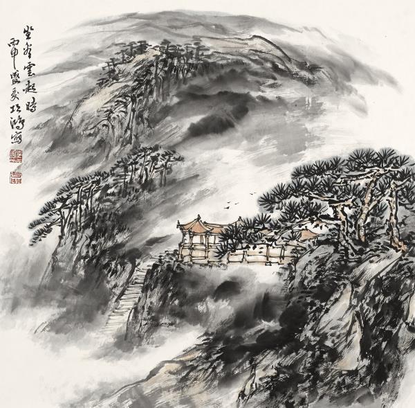 李项鸿,《坐看云起时》,2016年,68cm×68cm