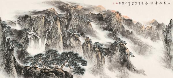 李项鸿,《山高松声远》,2012年,248cm×116cm