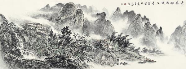 李项鸿,《奇峰烟雨漓江春》,2017年,245cm×110cm