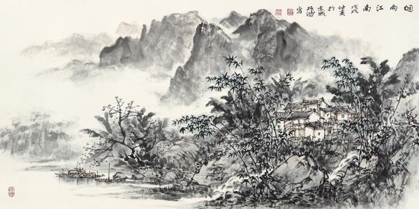 李项鸿,《烟雨江南》,2018年,138cm×68cm