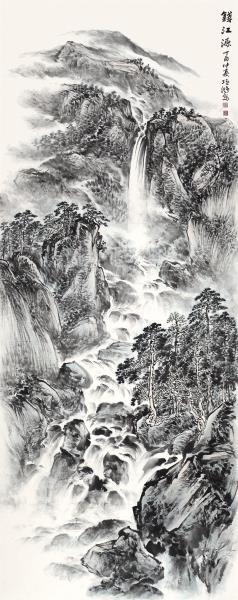 李项鸿,《钱江源》,2017年,365cm×145cm