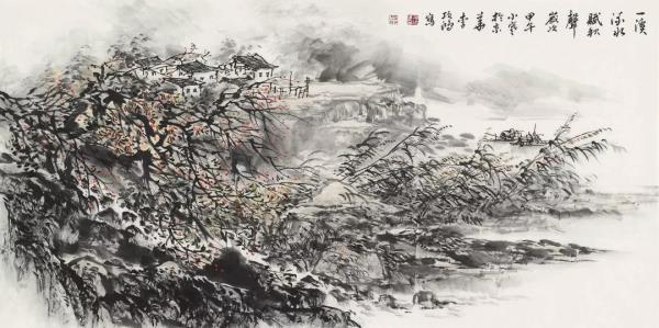 李项鸿,《一溪流水赋秋声》,138cm×68cm,2014年作.webp.jpg