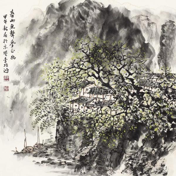 李项鸿,《春雨无声梦正幽》,68cm×68cm,2014年.webp.jpg
