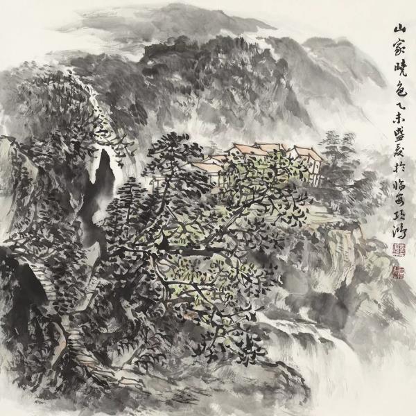 李项鸿,《山家晓色》,68cm×68cm,2015年作.webp.jpg
