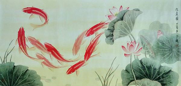 中國當代著名畫家于度九魚圖作品賞析