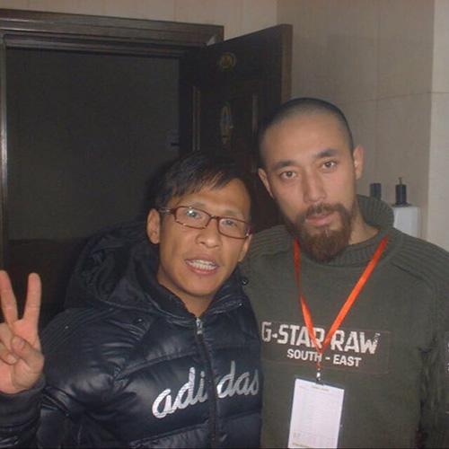 導演,畫家王興君與宋小寶合影