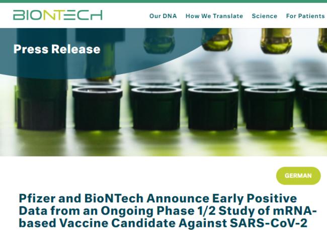 辉瑞和BioNTech的新冠候选疫苗在试验中显示出可喜的结果