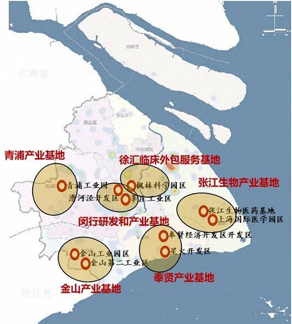 2020年上海生物医药产业集分布图