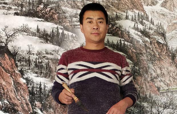 书画名家漆军艺山水画  中原厚土文化典型代表